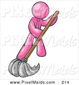 Clipart of a Pink Businessman Wearing a Tie, Using a Mop While Mopping a Hard Floor to Clean up a Mess or Spill by Leo Blanchette