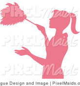 Clipart of a Pink Silhouetted Housekeeper Dusting with a Feather Duster by Pams Clipart