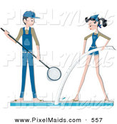 Clipart of a Pool Maintenance Couple Cleaning on White by BNP Design Studio