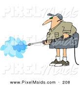 Clipart of a Pressure Washer Businessman in Shorts and a Khaki Shirt by Djart