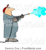 Clipart of a Pressure Washer Employee Man Spraying down a Wall by Djart