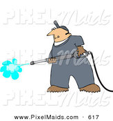 Clipart of a Pressure Washer Man Cleaning Something by Djart