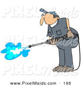 Clipart of a Pressure Washer Man in a Blue Uniform, Cleaning the Floor by Djart