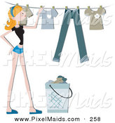 Clipart of a Pretty Blond Home Maker Hanging Laundry up on a Line by BNP Design Studio