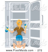 Clipart of a Pretty Blond Housewife Cleaning out Her Refrigerator by BNP Design Studio