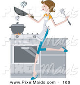 Clipart of a Pretty Brunette Home Maker Cooking in a Kitchen by BNP Design Studio