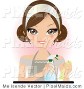 Clipart of a Pretty Brunette Housekeeper in an Apron, Spraying Cleaner onto a Rag by Melisende Vector