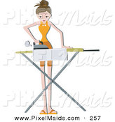 Clipart of a Pretty Home Maker Ironing Clothes in the House by BNP Design Studio