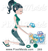 Clipart of a Pretty Home Maker Kneeling and Picking up Toys After Her Kids by BNP Design Studio