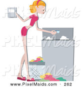 Clipart of a Pretty Home Maker Pouring Detergent in a Washing Machine While Doing Laundry by BNP Design Studio