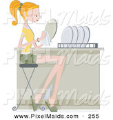 Clipart of a Pretty Home Maker Woman Drying Her Dishes by BNP Design Studio