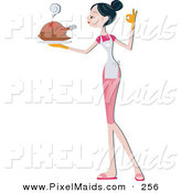 Clipart of a Pretty Home Maker Woman Serving a Hot Turkey by BNP Design Studio