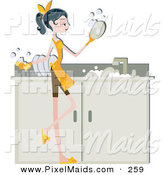 Clipart of a Pretty Home Maker Woman Washing Dishes in a Sink by BNP Design Studio