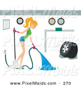 Clipart of a Pretty Housewife Spraying out a Garage on White by BNP Design Studio