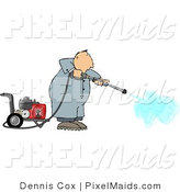 Clipart of a Professional Man Cleaning with a Heavy Duty Gas Powered Pressure Washer by Djart
