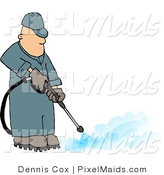 Clipart of a Professional Pressure Washer Man Spraying the Ground with Water by Djart