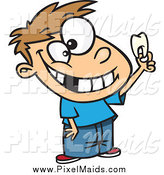 Clipart of a Proud Caucasian Boy Holding up His Tooth by Toonaday