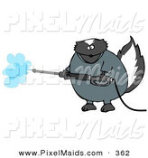 Clipart of a Pudgy Skunk in Coveralls, Using a Pressure Washer by Djart