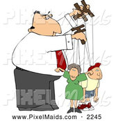 Clipart of a Puppeteer Man Controlling His Children, People in His Life by Djart