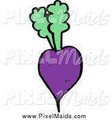Clipart of a Purple Beet and Greens by Lineartestpilot