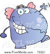 August 25th, 2017: Clipart of a Purple Elephant Walking Upright and Waving by Hit Toon