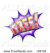Clipart of a Purple FREE Comic Burst Balloon by Oligo
