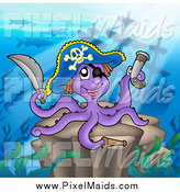 Clipart of a Purple Pirate Octopus with a Sword and Gun by a Sunken Ship by Visekart