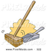Clipart of a Push Broom and Dustpan on White by Andy Nortnik