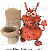 Clipart of a Red 3d Rodney Germ Character by a Stinky Toilet by Julos