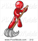 Clipart of a Red Businessman Wearing a Tie, Using a Mop While Mopping a Hard Floor to Clean up a Mess or Spill by Leo Blanchette