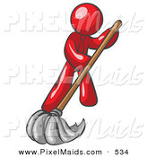 Clipart of a Red Design Character Mascot with a Tie, Mopping and Cleaning by Leo Blanchette