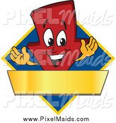 Clipart of a Red down Arrow on a Blue Diamond with a Gold Banner by Toons4Biz