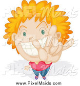 Clipart of a Red Haired Boy and Gesturing Rock on by Graphics RF