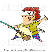 Clipart of a Red Haired Cartoon Woman Rocking out with a Broom by Toonaday