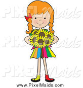 Clipart of a Red Haired Caucasian Girl Holding Sunflowers by Maria Bell
