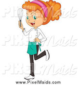 Clipart of a Red Haired Chef Girl Holding a Whisk by Graphics RF