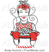 Clipart of a Red Haired Housewife or Cook Wearing an Apron and Oven Gloves, Smelling Fresh, Hot Chocolate Chip Cookies Right out of the Oven by Andy Nortnik
