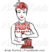 Clipart of a Red Haired Housewife or Maid Woman Facing Forward and Smiling While Using a Manual Coffee Grinder by Andy Nortnik