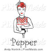 Clipart of a Red Haired Housewife or Maid Woman Grinding Fresh Pepper with a Pepper Mill While Cooking, with Text by Andy Nortnik