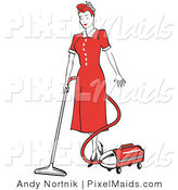 Clipart of a Red Haired Housewife or Maid Woman in a Long Red Dress and Black Heels, Using a Canister Vacuum to Clean the Floors by Andy Nortnik
