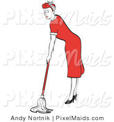 Clipart of a Red Haired Housewife or Maid Woman in a Long Red Dress and High Heels Mopping the Floors by Andy Nortnik