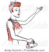 Clipart of a Red Haired Housewife or Maid Woman Singing While Using a Steam Iron While Doing the Laundry by Andy Nortnik