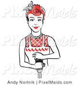 February 12nd, 2012: Clipart of a Red Haired Housewife or Maid Woman Using a Pepper Mill by Andy Nortnik