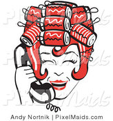 Clipart of a Red Haired Housewife with Her Hair up in Curlers, Laughing While Talking on a Black Landline Telephone by Andy Nortnik