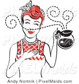 Clipart of a Red Haired Waitress or Housewife Smelling the Wonderful Aroma of Fresh, Hot Coffee While Holding a Coffee Pot by Andy Nortnik
