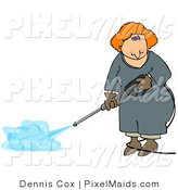 Clipart of a Red Headed Professional Woman Using a Pressure Washer by Djart