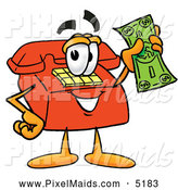 Clipart of a Red Telephone Cartoon Character Holding a Dollar Bill by Toons4Biz