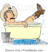 Clipart of a Redneck Cowboy Man Bathing with Hat and Boots on by Djart