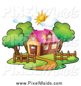 Clipart of a Residential House on a Sunny Day by Graphics RF