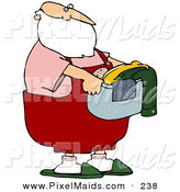 Clipart of a Retired Santa Carrying a Laundry Basket of Clothes by Djart